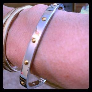 Sleek modern square silver bangle bracelet!